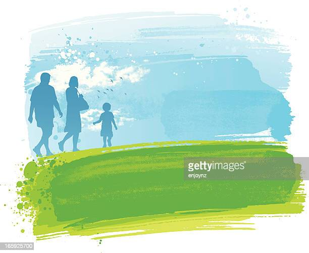family in the park - green and blue background stock illustrations