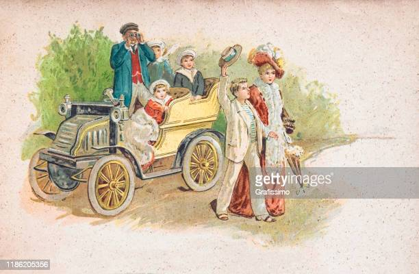 family in vintage car looking at horse race 1900 - 1900 stock illustrations