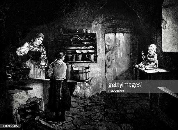 ilustrações, clipart, desenhos animados e ícones de vida familiar na cozinha - 1887