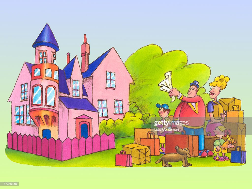 A family moving out of their old home : Stock Illustration