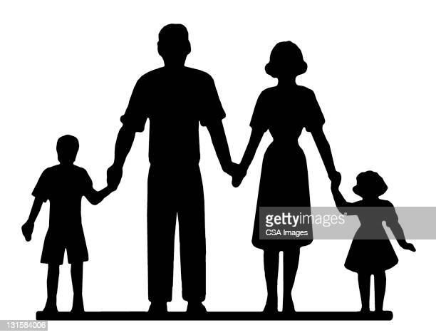 family of four - family stock illustrations