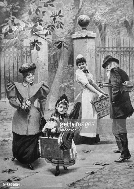 Family of musicians walking in the city _ 1895