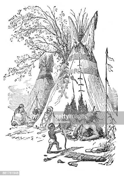 family of native american in teepee from 1873 - indian costume stock illustrations, clip art, cartoons, & icons