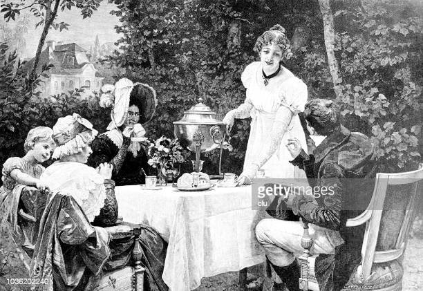 family outdoor in the garden drinking coffee or tea - afternoon tea stock illustrations, clip art, cartoons, & icons