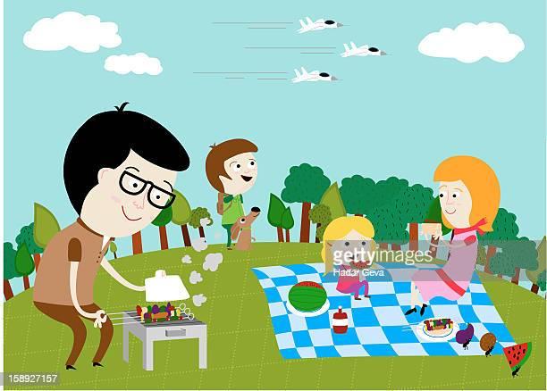 a family picnic - picnic blanket stock illustrations, clip art, cartoons, & icons