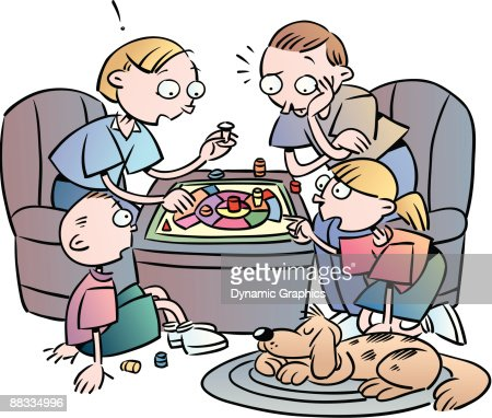 Family Playing Board Game Color Illustrator Ver 5 Spend ...