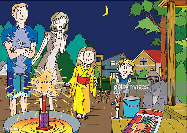 family playing with fireworks together, illustrative technique - japanese mom stock illustrations, clip art, cartoons, & icons