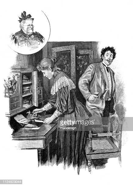 family problems with grandmother - 1896 - family fighting cartoon stock illustrations