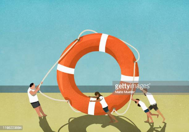family pulling and pushing large life ring on beach - head above water stock illustrations