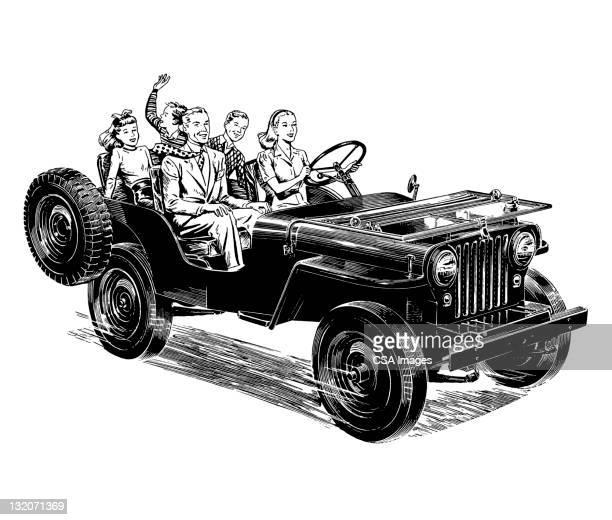 bildbanksillustrationer, clip art samt tecknat material och ikoner med family riding in convertible - partire