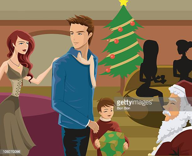 illustrations, cliparts, dessins animés et icônes de a family seeing santa at christmas time - famille avec un enfant