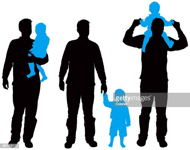 family silhouettes 6 (vector & jpg) - nanny stock illustrations