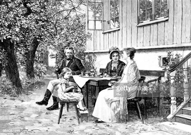 bildbanksillustrationer, clip art samt tecknat material och ikoner med familjen sitter utomhus i trädgården - flowerbed