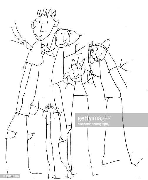family sketch - child's drawing stock illustrations