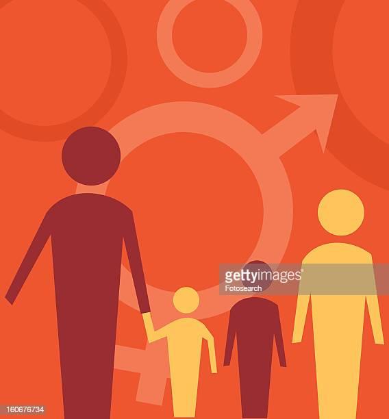 ilustraciones, imágenes clip art, dibujos animados e iconos de stock de family standing with male female sign - mujeres de mediana edad