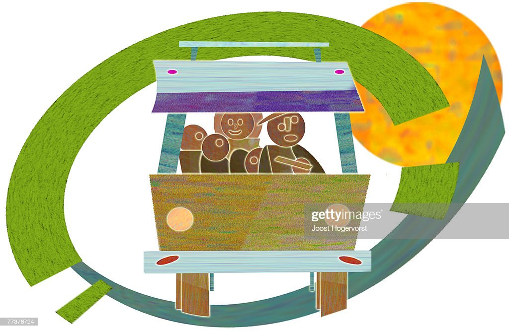 A family travelling together in a van : Illustration
