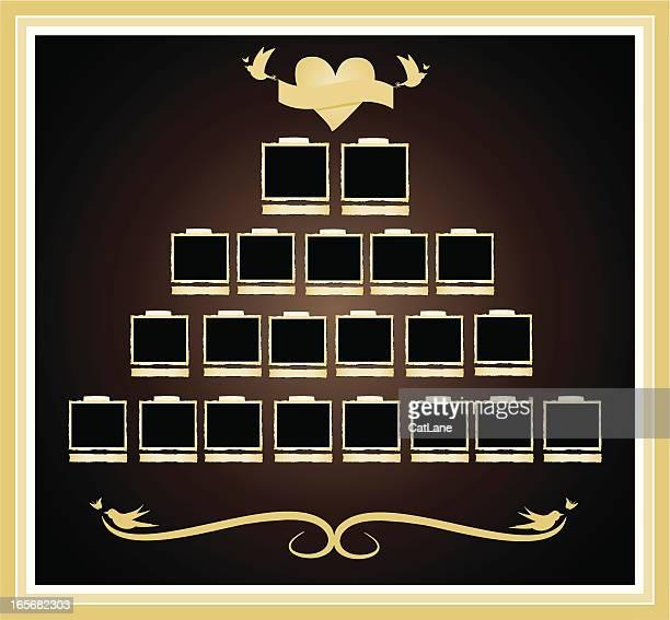 family tree in album - family tree chart stock illustrations, clip art, cartoons, & icons