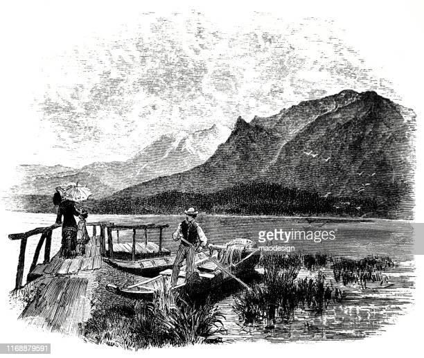 ilustrações, clipart, desenhos animados e ícones de viagem em família ao lago-1887 - 1887