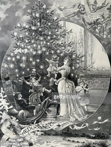 family under the christmas tree - christmas past and christmas present stock illustrations