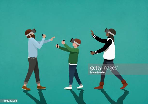 family using virtual reality simulators - family stock illustrations