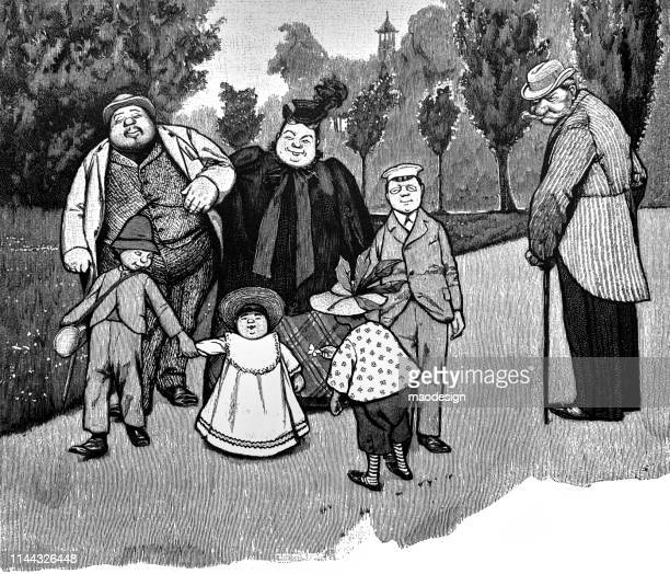 family walking in the park - 1896 stock illustrations, clip art, cartoons, & icons
