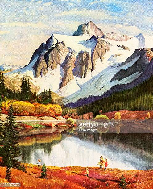 family walking near lake and mountain - incidental people stock illustrations