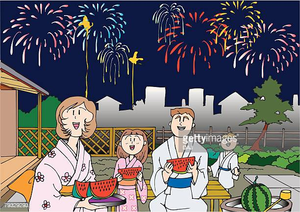 family watching a fireworks, illustrative technique - japanese mom stock illustrations, clip art, cartoons, & icons