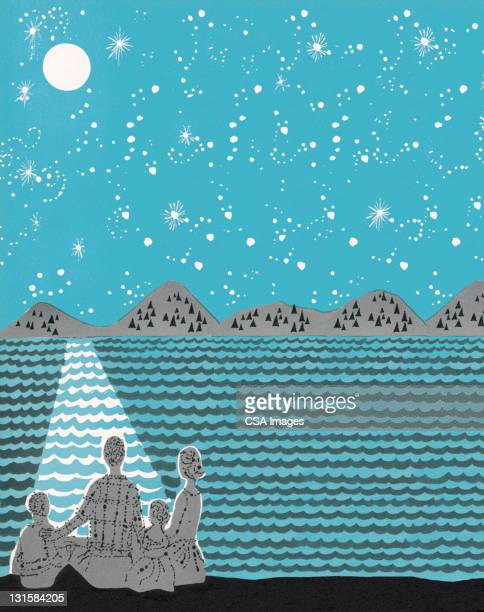 family watching the night sky - lakeshore stock illustrations