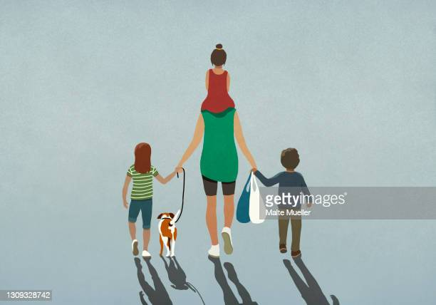 family with dog holding hands and walking with grocery bags - leisure activity stock illustrations
