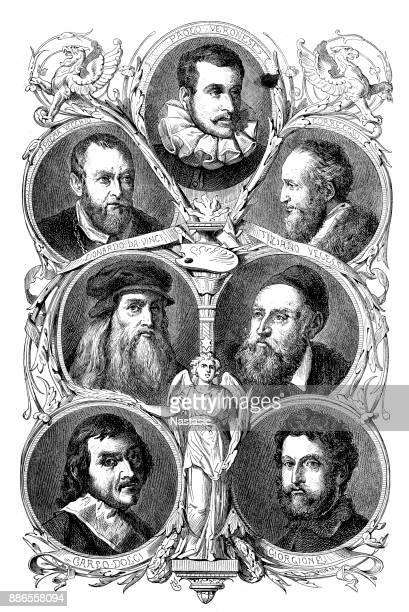 famous artists - tiziano vecellio stock illustrations, clip art, cartoons, & icons