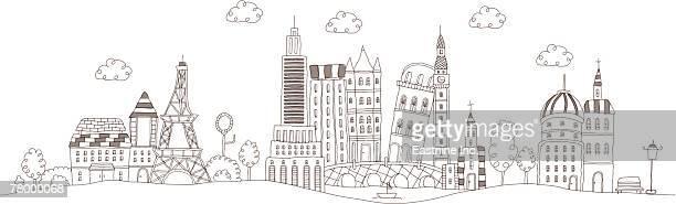Famous buildings on a landscape