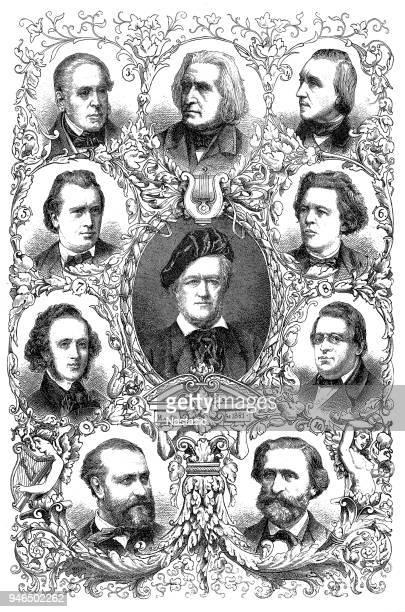 Famous composers of the 19th century:richard wagner, franz liszt, daniel francois esprit auber, edvard h. grieg, johannes brahms, anton rubinstein, felix mendelsohn-bartholdy, niels w. gade, chrles gounod, giuseppe verdi