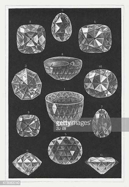 famous diamonds: orlov, hope, koh-i-noor, regent, florentine, a.o., pupl. 1875 - melbourne stock illustrations