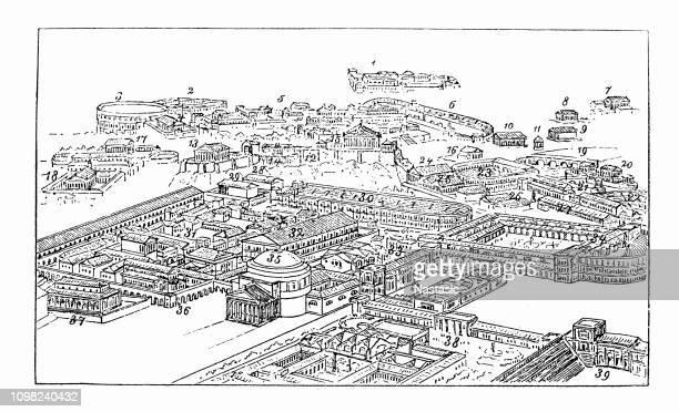 ilustrações de stock, clip art, desenhos animados e ícones de famous panoramic view of rome, italy - st. peter's basilica the vatican