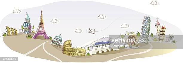 famous places and monuments of the world - megalith stock illustrations, clip art, cartoons, & icons