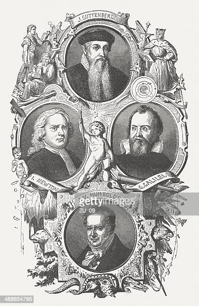 famous scientists: gutenberg, newton, galilei, humboldt, wood engraving, published 1876 - physicist stock illustrations, clip art, cartoons, & icons