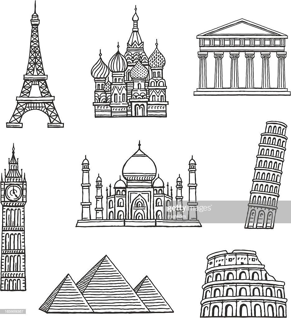 Famous Travel Destinations : Stock Illustration
