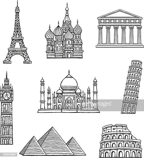 famous travel destinations - red square stock illustrations, clip art, cartoons, & icons