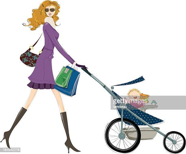 fancy mom and happy baby go for a walk - three wheeled pushchair stock illustrations, clip art, cartoons, & icons