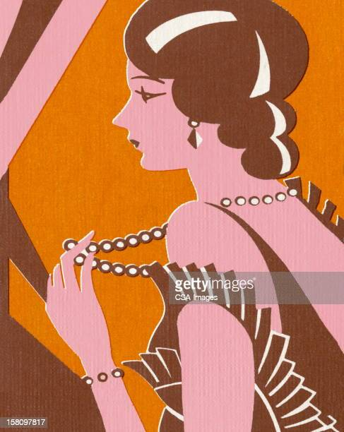 fancy woman holding strand of pearls - updo stock illustrations, clip art, cartoons, & icons