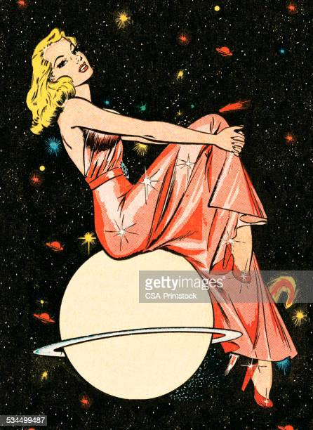 fancy woman on a planet - pin up girl stock illustrations, clip art, cartoons, & icons