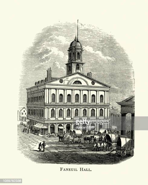 faneuil hall, boston, 19th century - faneuil hall stock illustrations, clip art, cartoons, & icons