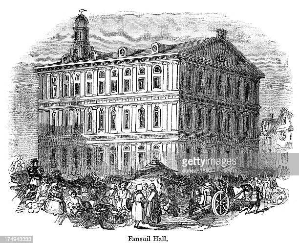 faneuil hall, boston - faneuil hall stock illustrations, clip art, cartoons, & icons