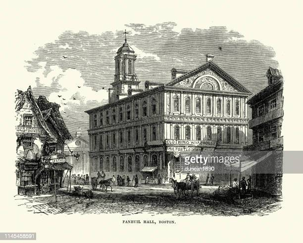 faneuil hall, boston, usa, 19th century - faneuil hall stock illustrations, clip art, cartoons, & icons