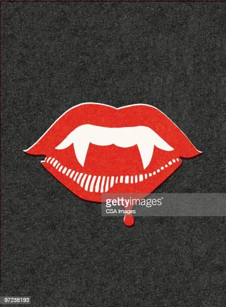 ilustraciones, imágenes clip art, dibujos animados e iconos de stock de fangs and a bloody lip - vampiro