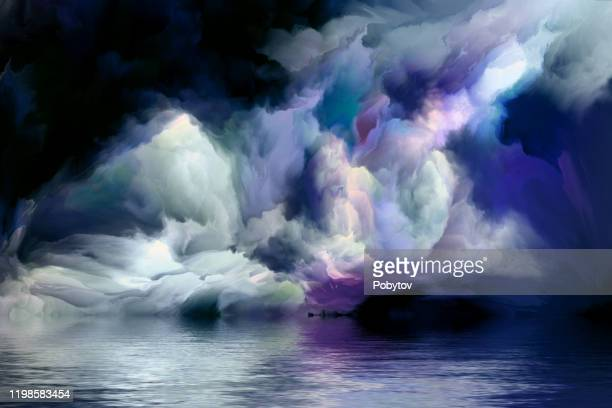 fantastic seascape - dramatic sky stock illustrations