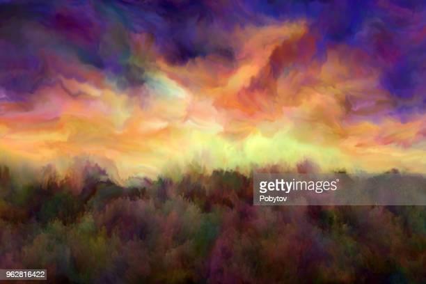 fantastic sunset, oil painting - atmospheric mood stock illustrations