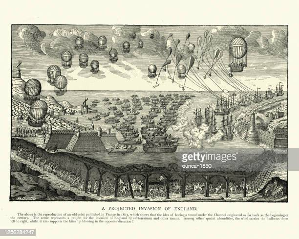 fantastical invasion of england, using channel tunnel, hot air ballons, ships - folkestone stock illustrations