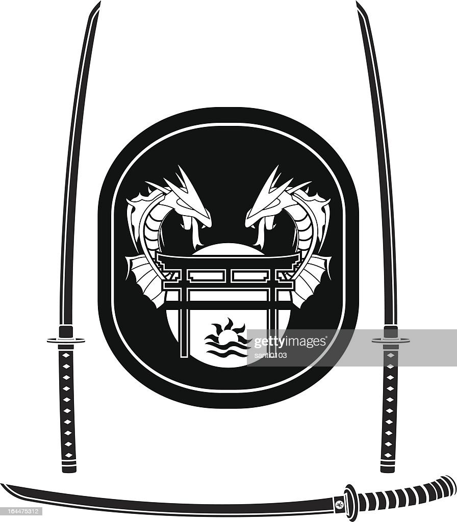 fantasy asian shield and swords