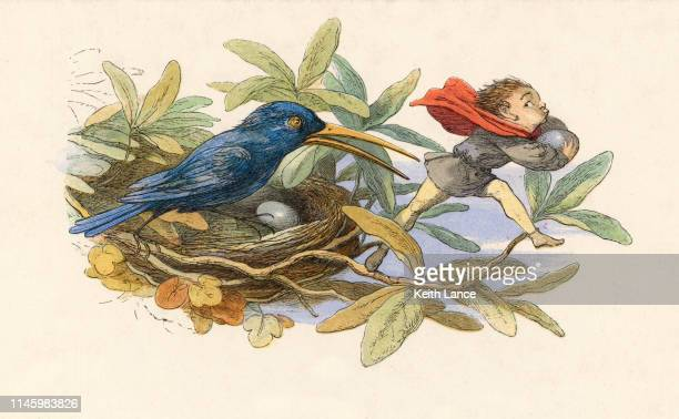 Fantasy Illustration of an Elf Stealing Eggs